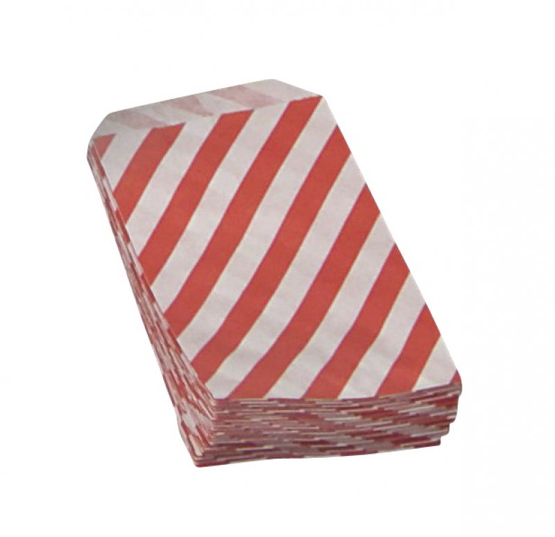 Image of   Konfektpose m/rød diag. strib hvid 100x155mm 40g 1000stk/pak
