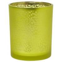 Lysestage, Duni Arctic, 7cm, Ø6cm, kiwi, glas, metallic design   *Denne vare tages ikke retur*