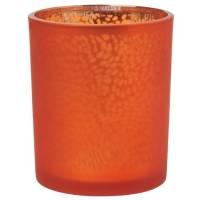 Lysestage, Duni Arctic, 7cm, Ø6cm, mandarin, glas, metallic design   *Denne vare tages ikke retur*