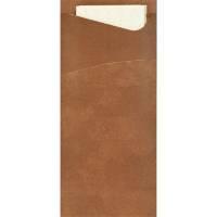 Bestiklomme, Duni Sacchetto, 20x8,5cm, chestnut, papir, med hvid serviet *Denne vare tages ikke retur*