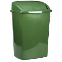 Affaldsspand, 23,5x30x40,5cm, 15 l, mørkegrøn, plast, med sving låg