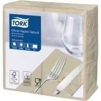Middagsserviet, Tork Advanced, 2-lags, 1/8 fold, 39x39cm