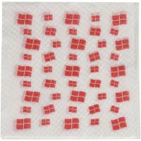 Frokostserviet, 1-lags, 1/4 fold, 33x33cm, hvid, med flagmotiv