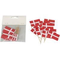 Kageflag, 48x30mm, flerfarvet, papir/træ, Dannebrog, på træpind