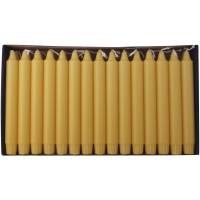 Kronelys, 20cm, Ø2,3cm, gul, 8 timer, 100% stearin