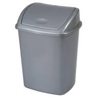 Affaldsspand, 27,2x35,2x48cm, 26 l, grå, plast, med sving låg
