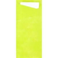 Bestiklomme, Duni Sacchetto, 20x8,5cm, kiwi, papir, med hvid serviet *Denne vare tages ikke retur*