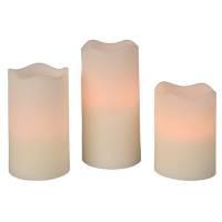 LED bloklys, Ø7cm, hvid, sæt á 3 stk.