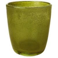 Glaslysestage, Duni Raindrop, 9x10,5cm, herbal green, glas *Denne vare tages ikke retur*