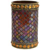 Glasstage, Morocco, 13cm, Ø7,5cm, flerfarvet, glas, til olielys