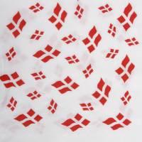 Frokostserviet, 3-lags, 1/4 fold, 33x33cm, hvid, papir, med flagmotiv