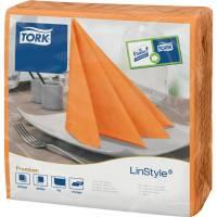 Middagsserviet, Tork Linstyle, 1/4 fold, 39x39cm, orange, 100% nyfiber *Denne vare tages ikke retur*