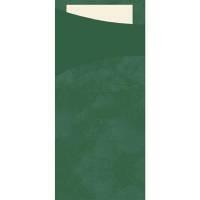 Bestiklomme, Duni Sacchetto, 20x8,5cm, mørkegrøn, papir, med buttermilk serviet *Denne vare tages ikke retur*
