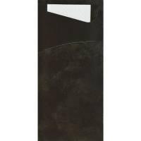 Bestiklomme, Duni Sacchetto, 19x8,5cm, sort, papir, med hvid serviet *Denne vare tages ikke retur*