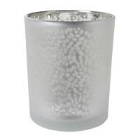Lysestage, Duni Arctic, 7cm, Ø6cm, sølv, glas, metallic design   *Denne vare tages ikke retur*