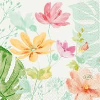 Kaffeserviet, Duni, Tropical garden, 3-lags, 1/4 fold, 24x24cm, flerfarvet, papir
