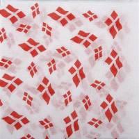 Frokostserviet, 1-lags, 1/4 fold, 33x33cm, hvid, 100% genbrugspapir, med flagmotiv