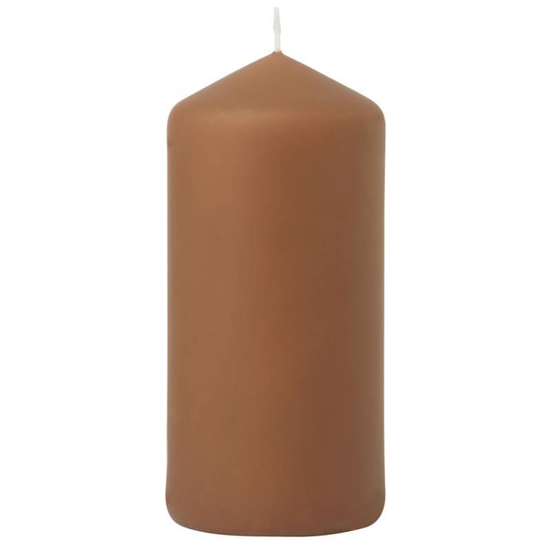 Image of   Bloklys, Duni, 15cm, Ø7cm, chestnut, 50 timer, mat *Denne vare tages ikke retur*