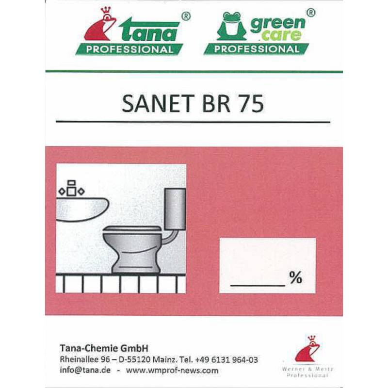 Image of   Etiket, Tana Professional Sanet BR 75, til kalkfjerner