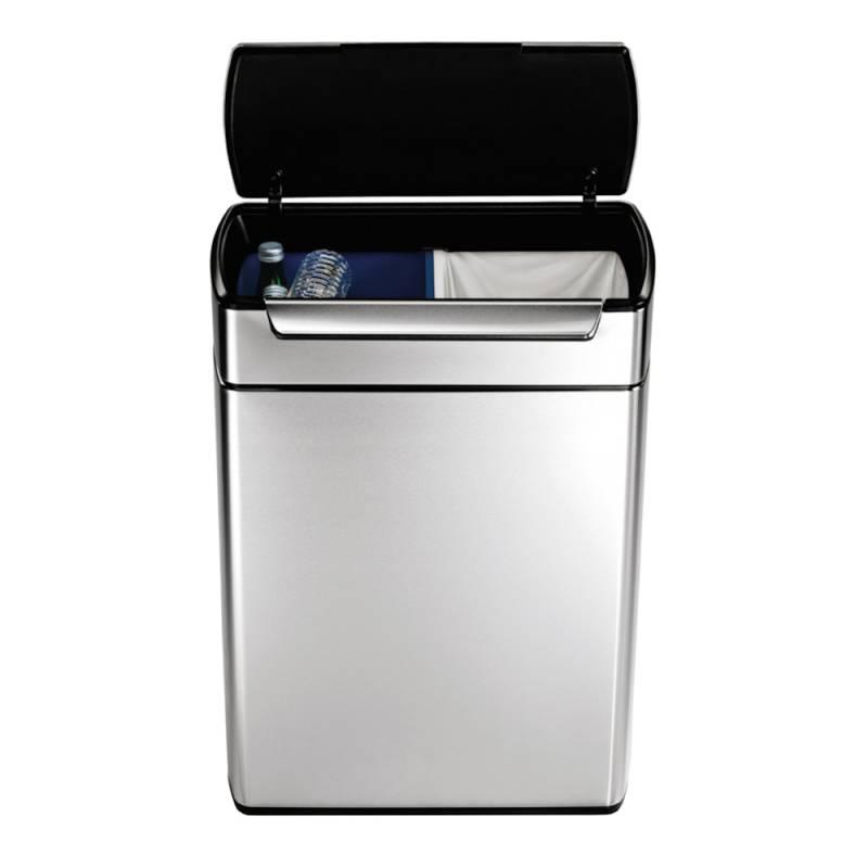 Image of   Affaldsspand, Simplehuman Touch-Bar bin, 48 l, stål mat, 2-rums *Denne vare tages ikke retur*