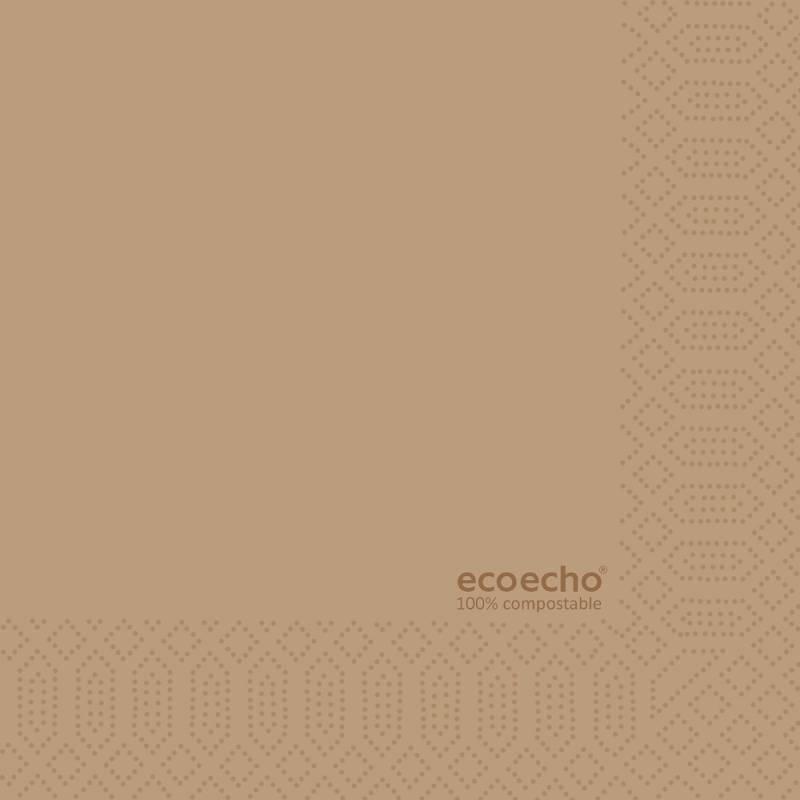 Image of   Frokostserviet, Duni Ecoecho, 3-lags, 1/4 fold, 33x33cm, brun, papir *Denne vare tages ikke retur*