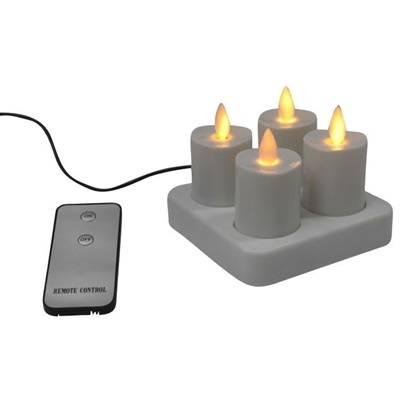 Image of   LED fyrfadslys, 4cm, Ø4,5cm, hvid, sæt á 4 stk., med bevægelig flamme