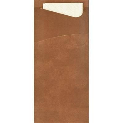 Image of   Bestiklomme, Duni Sacchetto, 20x8,5cm, chestnut, papir, med hvid serviet *Denne vare tages ikke retur*
