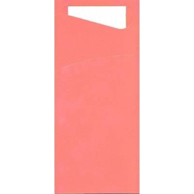 Image of   Bestiklomme, Duni Sacchetto, 20x8,5cm, fuchsia, papir, med hvid serviet *Denne vare tages ikke retur*