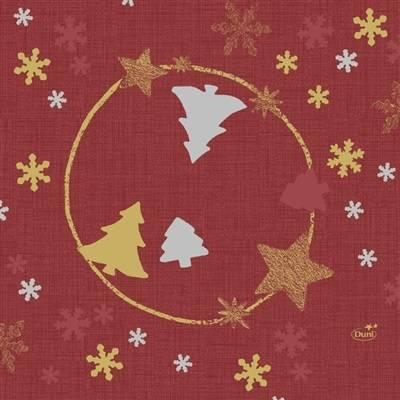 Image of   Frokostserviet, Duni Seasons joy, 3-lags, 1/4 fold, 33x33cm, rød, papir *Denne vare tages ikke retur*