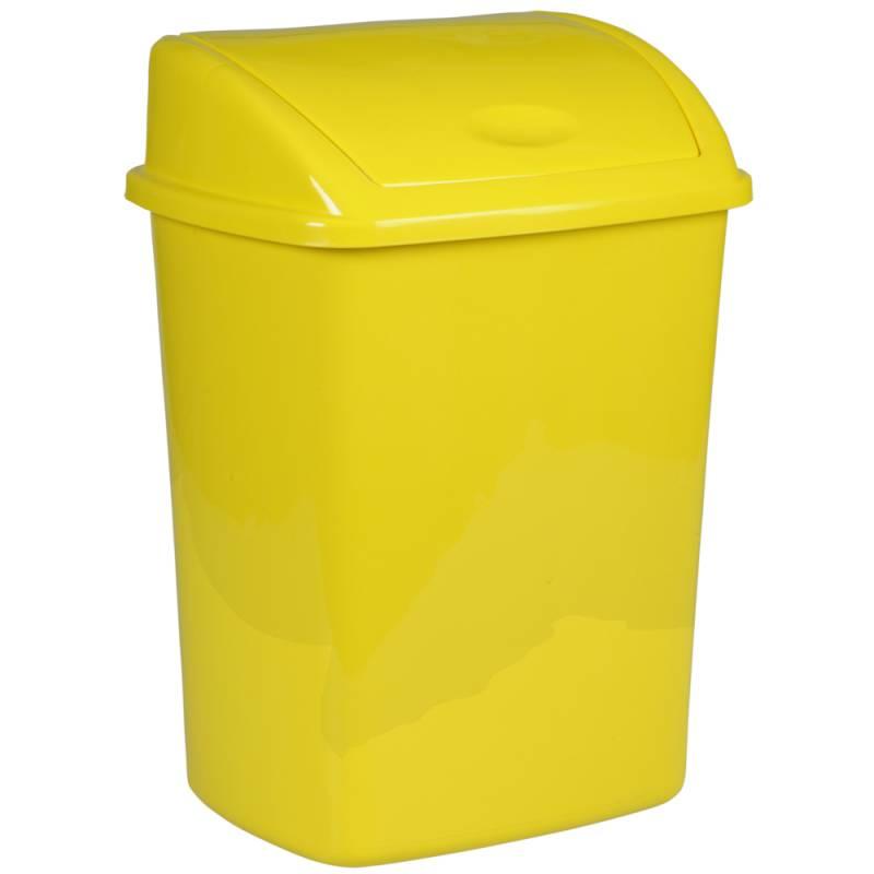 Image of   Affaldsspand, 35,2x48cm, 26 l, gul, plast, med sving låg