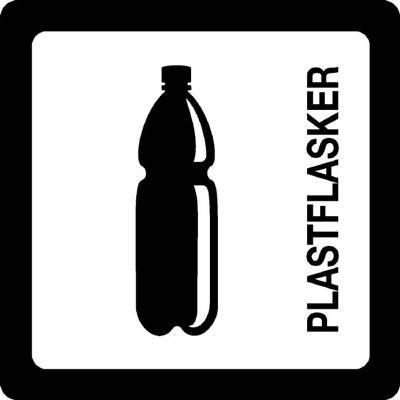 Image of   Klistermærke, hvid, plastflasker
