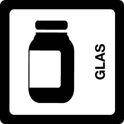 Image of   Klistermærke, hvid, glas