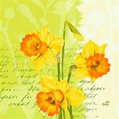 Frokostserviet, Duni Spring Flowers, 3-lags, 1/4 fold, 33x33cm, kiwi, nyfiber *Denne vare tages ikke retur*