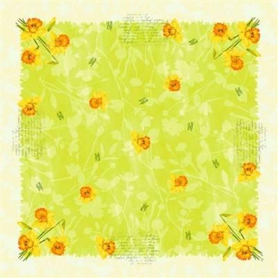 Image of   Stikdug, Dunicel Spring Flowers, 84x84cm, kiwi *Denne vare tages ikke retur*