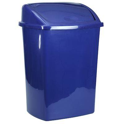 Image of   Affaldsspand, 30x40x68cm, 50 l, blå, plast, med sving låg