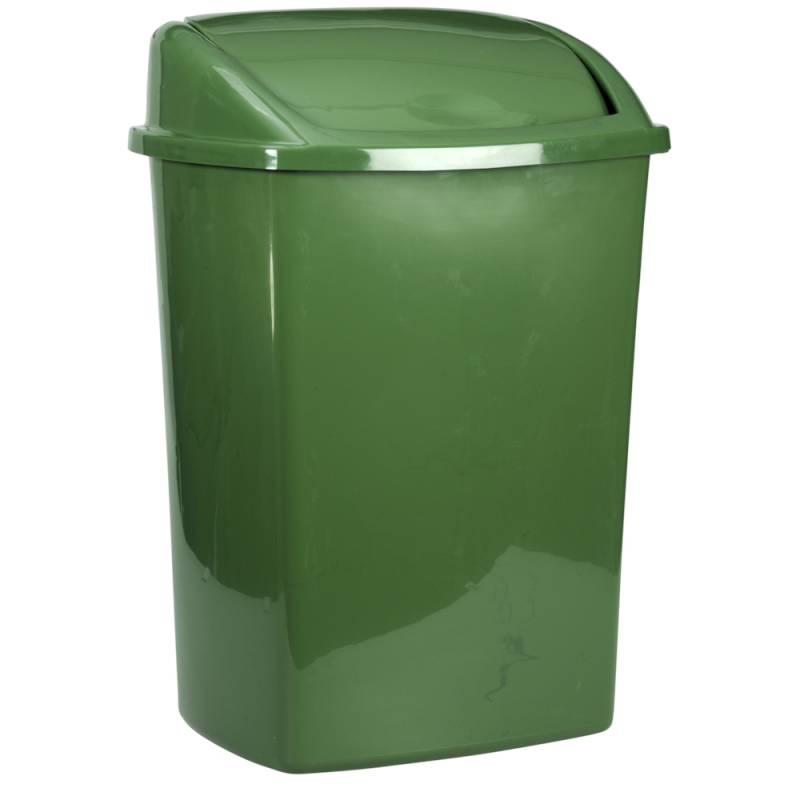Image of   Affaldsspand, 23,5x30x40,5cm, 15 l, mørkegrøn, plast, med sving låg