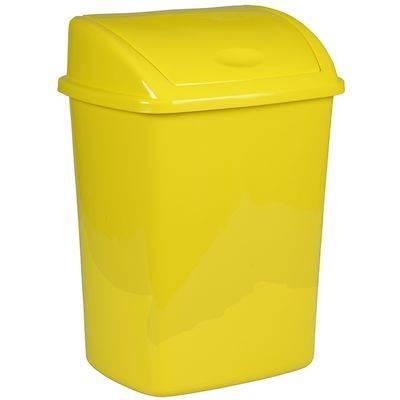 Image of   Affaldsspand, 23,5x30x40,5cm, 15 l, gul, plast, med sving låg