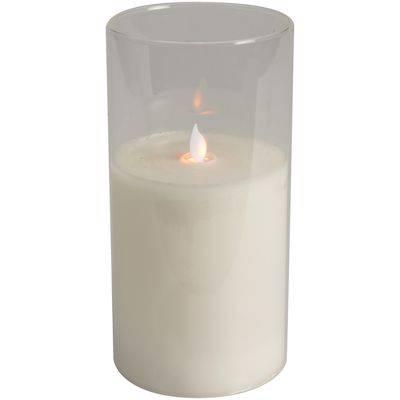 Image of   LED lys, 20cm, Ø10cm, hvid, glas, i glasstage, ekskl. 2AA batterier