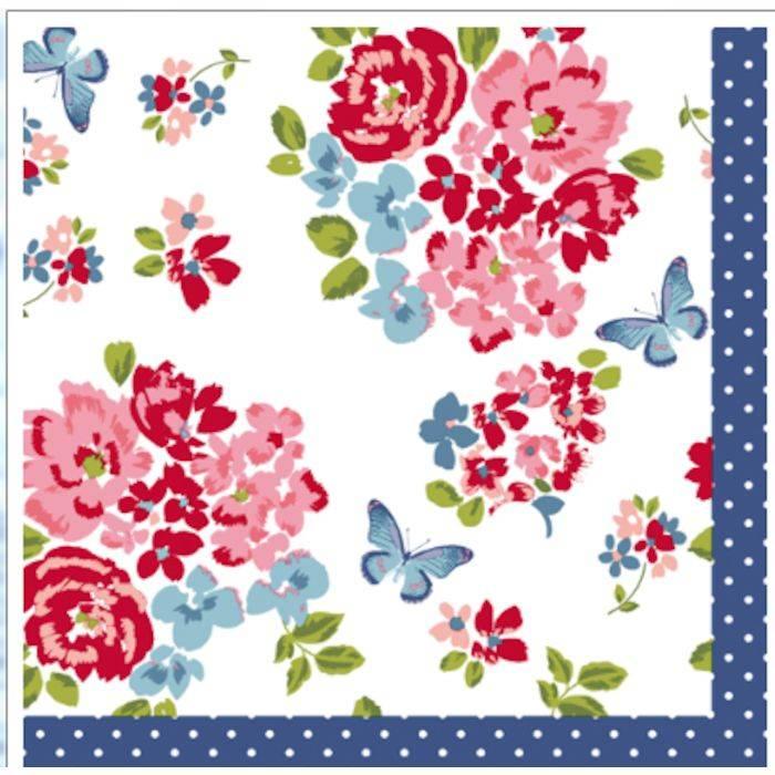 Image of   Frokostserviet, Duni Sweet roses, 3-lags, 1/4 fold, 33x33cm, flerfarvet *Denne vare tages ikke retur*