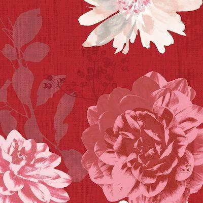 Image of   Frokostserviet, Duni Autumn Floral, 3-lags, 33x33cm, bordeaux *Denne vare tages ikke retur*