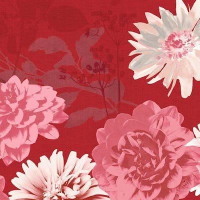 Image of   Middagsserviet, Duni Autumn Floral, 40x40cm, bordeaux *Denne vare tages ikke retur*