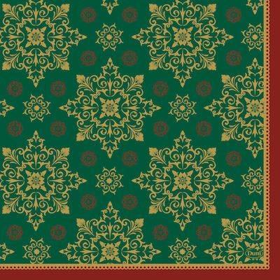 Image of   Frokostserviet, Duni XMAS Deco Green, 3-lags, 33x33cm, grøn *Denne vare tages ikke retur*