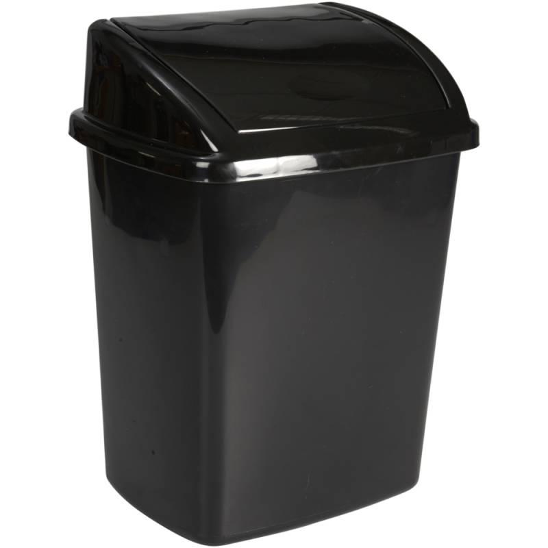 Image of   Affaldsspand, 20x25,2x33cm, 8 l, sort, plast, med sving låg *Denne vare tages ikke retur*