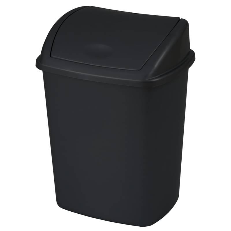 Image of   Affaldsspand, 23,5x30x40,5cm, 15 l, sort, plast, med sving låg *Denne vare tages ikke retur*