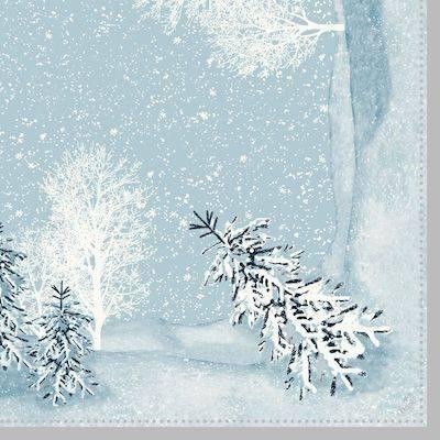 Image of   Middagsserviet, Dunilin Winter Mornings, 1/4 fold, 40x40cm, mintblå