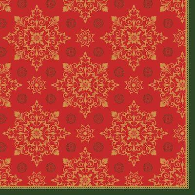 Image of   Middagsserviet, Dunilin Xmas Deco Red, 1/4 fold, 48x48cm, rød *Denne vare tages ikke retur*