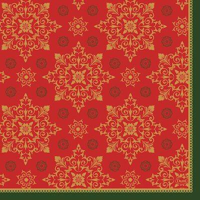 Image of   Frokostserviet, Duni Xmas Deco Red, 3-lags, 1/4 fold, 33x33cm, rød