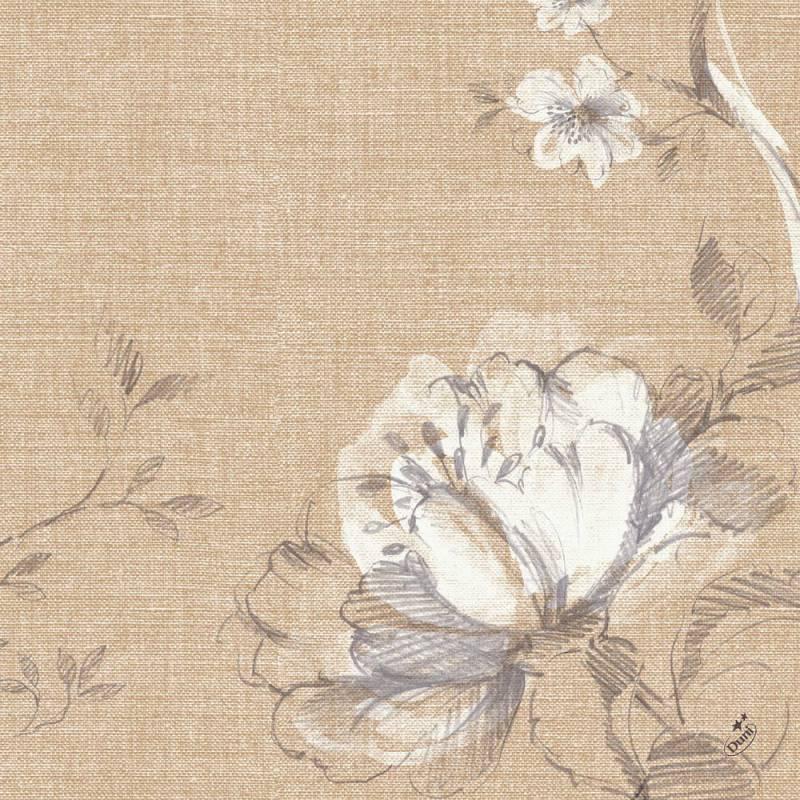 Image of   Middagsserviet, Dunisoft Floris, 1/4 fold, 40x40cm, beige *Denne vare tages ikke retur*