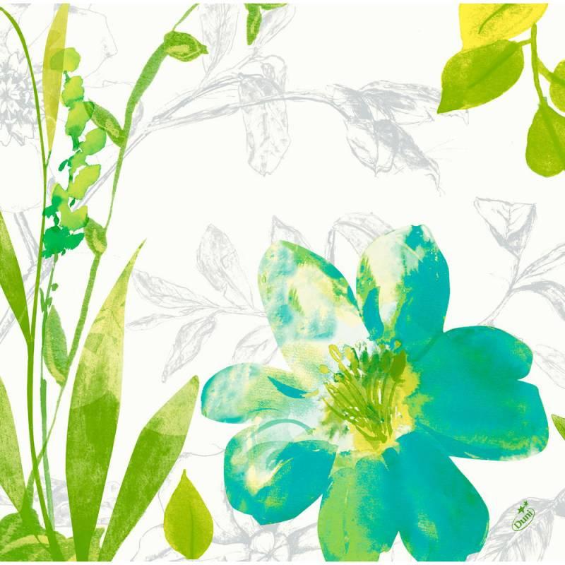 Image of   Middagsserviet, Dunisoft Summertime Blue, 1/4 fold, 40x40cm, grøn *Denne vare tages ikke retur*