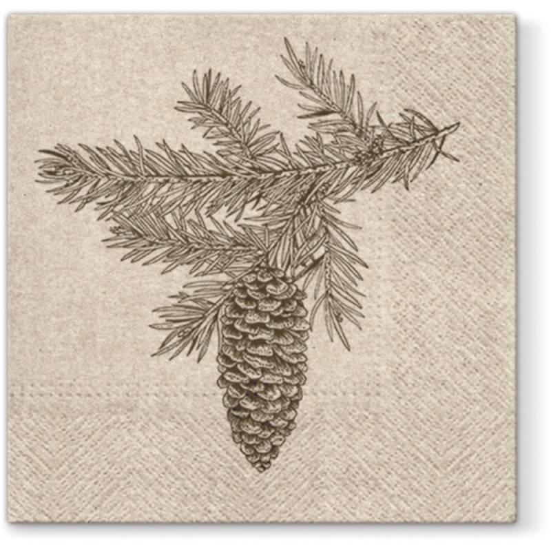Image of   Frokostserviet, 3-lags, 1/4 fold, 33x33cm, papir, gran gren med kogle, genbrug *Denne vare tages ikke retur*